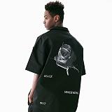 [매스노운]MASSNOUN 블랙 로즈 하와이안 오버핏 반팔 셔츠 MUVST002-BK