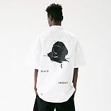 [매스노운]MASSNOUN 블랙 로즈 하와이안 오버핏 반팔 셔츠 MUVST002-WT