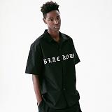 [매스노운]MASSNOUN 블랙 아웃 하와이안 스탠다드 반팔 셔츠 MUVST003-BK