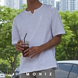 [모니즈] 브이 라운드 반팔 티셔츠 (2color) TSB115