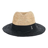 바잘 - Two tone panama hat black 파나마모자
