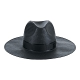 바잘 - Wide brim panama hat black 파나마모자