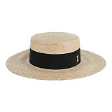 바잘 - Wide brim boater hat beige_black 파나마모자 보터햇