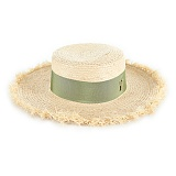바잘 - Long strap boater hat beige_khaki 파나마모자 보터햇