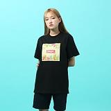 [지플랫] 컬러풀 반팔 티셔츠 (BLACK)