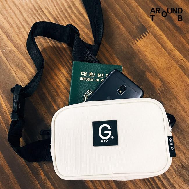 [제옥스]GEOX POCKET waist bag IVORY 포켓웨이스트백 아이보리