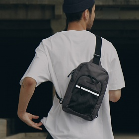 [피스메이커]PIECE MAKER - CLASSIC CORDURA SLING BAG (DARK GREY) 슬링백