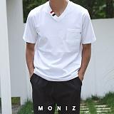 [모니즈] 패치 브이넥 반팔 티셔츠 (2color) TSB121