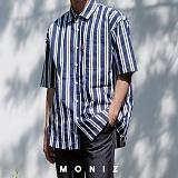 [모니즈] 두줄 스트라이프 반팔 셔츠 (3color) SHT619