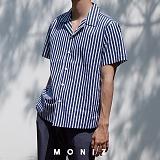 [모니즈] 스트라이프 오픈 반팔 셔츠 (2color) SHT618