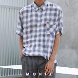 [모니즈] 모이 체크 반팔 셔츠 (3color) SHT613