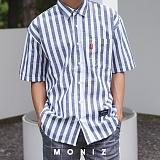 [모니즈] 노멀 줄지 반팔 셔츠 (3color) SHT609