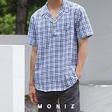 [모니즈] 체크 반오픈 반팔 셔츠 (5color) SHT608