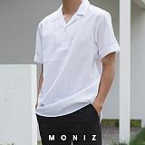[모니즈] 줄지 반 오픈 반팔 셔츠 (7color) SHT606