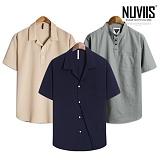 뉴비스 - 남성 반팔 반오픈셔츠 균일가 (NVS303)