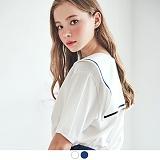 [무아무아]MUAHMUAH - NAVY COLLAR T-SHIRTS 네이비 카라 티셔츠 세일러 반팔티