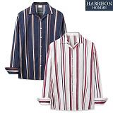 [해리슨] 긴팔 줄지 패턴 오픈카라 셔츠 MSS1386