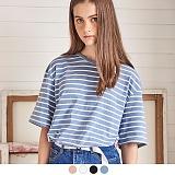 [무아무아]MUAHMUAH - BLOCK STRIPE T-SHIRTS 블락 스트라이프 티셔츠 반팔티