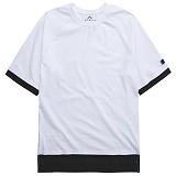 뉴해빗[N] - 레이어드 배색 반팔티셔츠 - 화이트/블랙