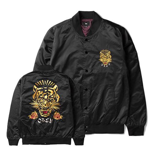 [오베이]OBEY - SAVAGE SATIN JACKET 121800289 (BLACK) 등판 자수 스카쟌 블루종 자켓