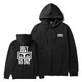 [오베이]OBEY - NO ONE PULLOVER SWEATSHIRT HOODED FLEECE 111731559 (BLACK) 등판로고 기모 풀오버 후드티