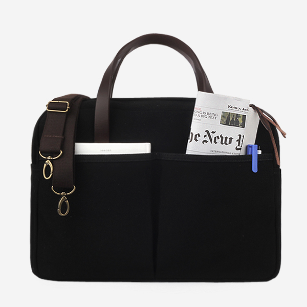 [모노노] MONONO - Vintage Brief Bag Super Oxford_Black 캔버스 브리프 케이스 토트백