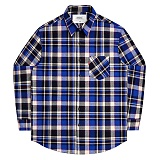 [언더에어] UNDERAIR Platonic Love Shirts - Blue 긴팔 체크셔츠 남방