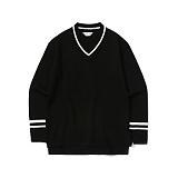 라퍼지스토어 - Line V Neck Knit_Black 니트