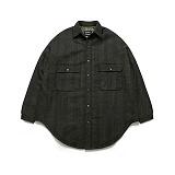 라퍼지스토어 - (Unisex) Melton Shirt Coat Check_Khaki 셔츠코트
