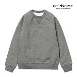 [칼하트WIP] CARHARTT WIP - Chase Sweatshirt (Dark Grey Heather / Gold) 도톰 기모 무지 체이스 스��셔츠 맨투맨 크루넥