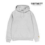 [칼하트WIP] CARHARTT WIP - Hooded Chase Sweatshirt (Ash Heather / Gold) 도톰 기모 무지 체이스 스��셔츠 후드 후드티
