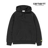 [칼하트WIP] CARHARTT WIP - Hooded Chase Sweatshirt (Black / Gold) 도톰 기모 무지 체이스 스��셔츠 후드 후드티