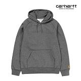 [칼하트WIP] CARHARTT WIP - Hooded Chase Sweatshirt (Dark Grey Heather / Gold) 도톰 기모 무지 체이스 스��셔츠 후드 후드티