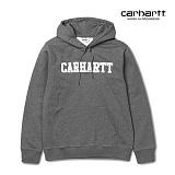 [칼하트WIP] CARHARTT WIP - Hooded College Sweatshirt (Dark Grey Heather / White) 칼리지 로고 스��셔츠 후드 후드티