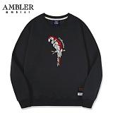 [엠블러]AMBLER CLASSIC 앵무새 자수 맨투맨 티셔츠 AMM501-블랙 크루넥 특양면 기모 세미오버핏