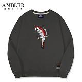 [엠블러]AMBLER CLASSIC 앵무새 자수 맨투맨 티셔츠 AMM501-다크그레이 크루넥 특양면 기모 세미오버핏