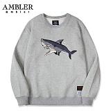 [엠블러]AMBLER CLASSIC 상어 자수 맨투맨 티셔츠 AMM502-멜란지 크루넥 특양면 기모 세미오버핏