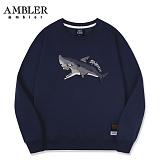 [엠블러]AMBLER CLASSIC 상어 자수 맨투맨 티셔츠 AMM502-네이비 크루넥 특양면 기모 세미오버핏