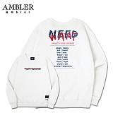 [엠블러]AMBLER CLASSIC 뒷면 자수 맨투맨 티셔츠 AMM503-화이트 크루넥 특양면 기모 세미오버핏