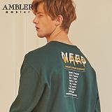 [엠블러]AMBLER CLASSIC 뒷면 자수 맨투맨 티셔츠 AMM503-카키 크루넥 특양면 기모 세미오버핏