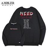 [엠블러]AMBLER CLASSIC 뒷면 자수 맨투맨 티셔츠 AMM503-블랙 크루넥 특양면 기모 세미오버핏