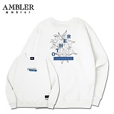 [엠블러]AMBLER CLASSIC 뒷면 자수 맨투맨 티셔츠 AMM504-화이트 크루넥 특양면 기모 세미오버핏