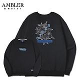 [엠블러]AMBLER CLASSIC 뒷면 자수 맨투맨 티셔츠 AMM504-블랙 크루넥 특양면 기모 세미오버핏