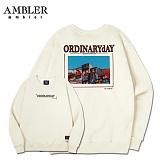 [엠블러]AMBLER CLASSIC 뒷면 자수 프린팅 맨투맨 티셔츠 AMM505-아이보리 크루넥 특양면 기모 세미오버핏