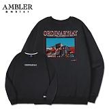 [엠블러]AMBLER CLASSIC 뒷면 자수 프린팅 맨투맨 티셔츠 AMM505-블랙 크루넥 특양면 기모 세미오버핏