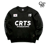 [코로츠]CRT 기모오버핏 저지 크루넥 블랙 맨투맨