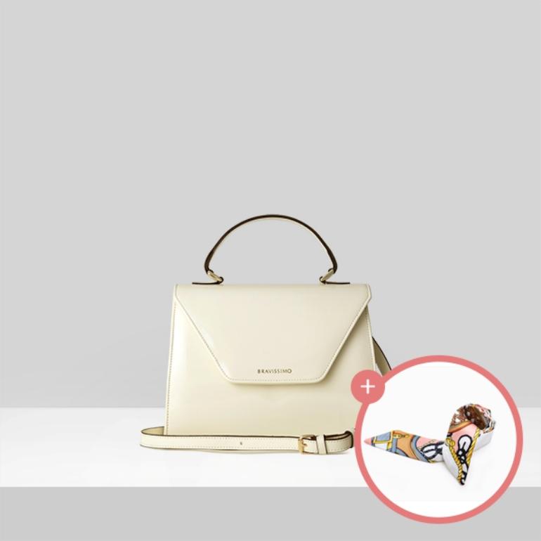 (★스카프증정)[브라비시모][아이콘/이영아착용] 마리네트(Marinette) - Ivory 토트백 크로스백 여성가방