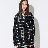 텐블레이드 - 남여공용 루즈핏 블락체크 셔츠_블랙