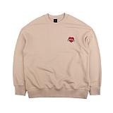 [아이넨]EINEN-Heart Badge Dropshoulder Sweatshirts Beige 맨투맨 크루넥 스��셔츠