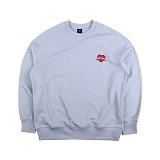[아이넨]EINEN-Heart Badge Dropshoulder Sweatshirts Cement Blue 맨투맨 크루넥 스��셔츠